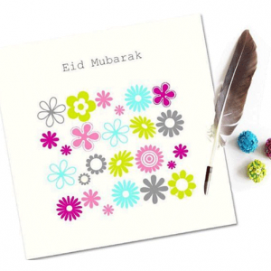 Eid Mubarak Card - Arabesque Flowers